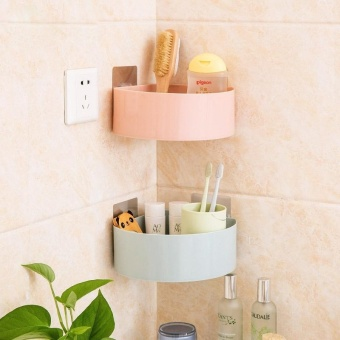 Kitchen Bathroom Corner Storage Holder Shelf Shower Caddy Tool Organizer Rack Basket Sucker Cup - intl