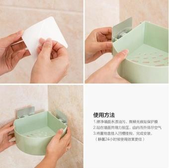 Kitchen Bathroom Corner Storage Holder Shelf Shower Caddy ToolOrganizer Rack Basket Sucker Cup - intl - 4