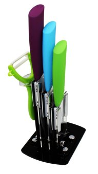 Kitchen Hub Colorful Ceramic Knives 3pc Set with Peeler and Stand