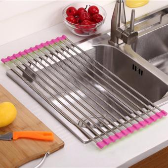 Kitchen Sink Stainless Steel Medium Folding Drain Rack 37*23CM - 5