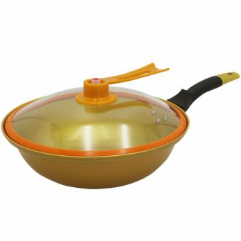 Korean Golden Vacuum Skillet 32 cm Wok non-stick Ceramic Fry Pan with loop handle 698 (Golden Yellow)