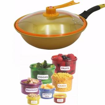Korean Golden Vacuum Skillet 32 cm Wok non-stick Ceramic Fry Panwith loop handle 698 (Golden Yellow) with Free 7 Pcs/set PerfectPortions Portable Lunch Box Kitchen Dining