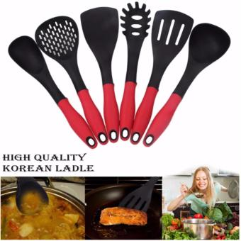 Korean Golden Vacuum Skillet 32 cm Wok non-stick Ceramic Fry Panwith loop handle 698 (Golden Yellow) with Free Korea 6pcs CookingUtensil Heat Resistant Ladle (Red/Black) and Silicone MultipurposeFunnel Strainer (Red) - 5