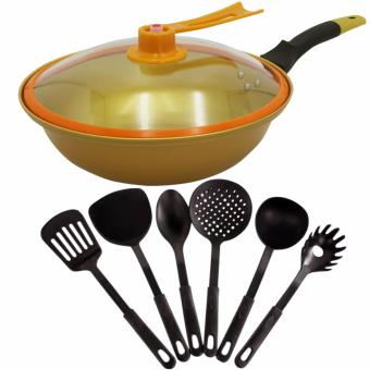Korean Golden Vacuum Skillet 32 cm Wok non-stick Ceramic Fry Panwith loop handle 698 (Golden Yellow) With Heat Resistance PlasticLadle 6-piece set (Black)