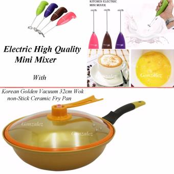 Korean Golden Vacuum Skillet 32 cm Wok non-stick Ceramic Fry Panwith loop handle 698 (Golden Yellow) With M-3089 Electric HighQuality Mini Mixer (Color May Vary)