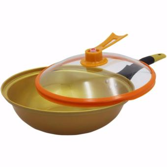 Korean Golden Vacuum Skillet 32 cm Wok non-stick Ceramic Fry Panwith loop handle 698 (Golden Yellow) With Miracle Blade World Class13-piece Knife Set - 2
