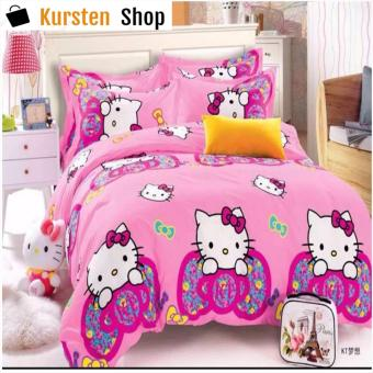 KurstenShop 4in1 Bedsheet POLY COTTON HELL0 Kitty Ribbon Design(2 pcs pillow case , 1pcs fitted and 1pcs bedsheet)QUEEN