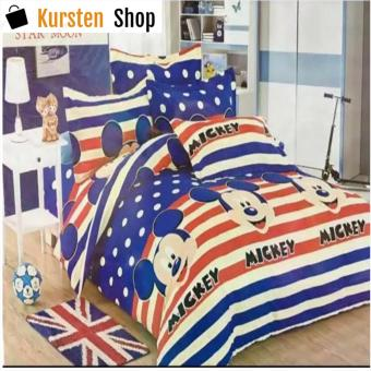 KurstenShop 4in1 Bedsheet POLY COTTON Mickey Mouse PolkaDots Design(2 pcs pillow case , 1pcs fitted and 1pcs bedsheet)SINGLE