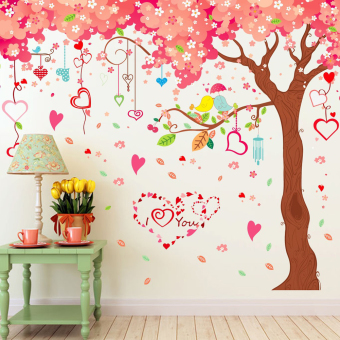 Large Cherry Flowers Trees Heart Shapes Wall Decal Home Sticker PVCMurals Vinyl Paper House Decoration Wallpaper Living Room BedroomKitchen Art Picture DIY for Children Teen Senior Adult Nursery Baby- Intl