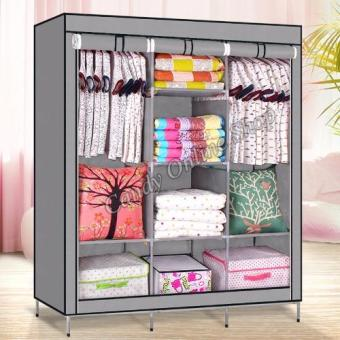 Large Size High Quality Multifunctional Wardrobe Storage CabinetDust Cover Waterproof (Gray)