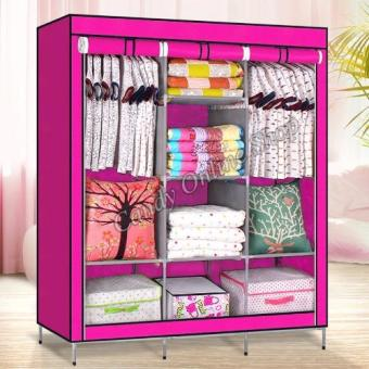 Large Size High Quality Multifunctional Wardrobe Storage CabinetDust Cover Waterproof (Pink)
