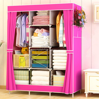 Large Size Quality Fashion Simple Multifunction Cloth Wardrobe Storage Cabinets 77130 (Pink)