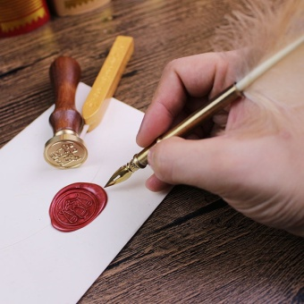 Laweisi Antique Nature Feather Dip Pen Set English CalligraphyCarved Pen New Year Gift Creative Gift Birthday Gift Quill PenStationery Gifts(gongjue) - intl - 3
