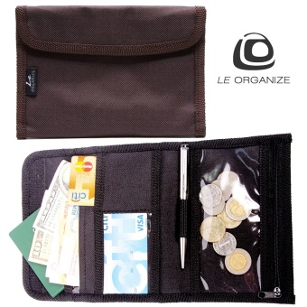 Le Organize Deltrax Canvas Small Passport Organizer - Brown
