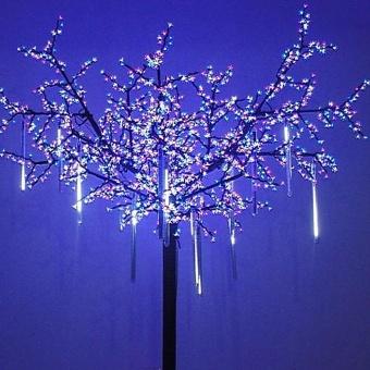 LED Meteor Shower Rain Lights,Drop/Icicle Snow Falling Raindrop 30cm 8 Tubes Cascading lights for Wedding Xmas Home Decor - Cool White - intl - 2