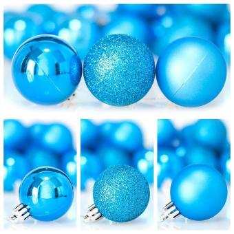 leegoal Christmas Baubles Tree Balls Decorations Ornament Xmas TreeFestival Party Pendant Baubles,24pcs,4cm,Lake Blue - intl - 4