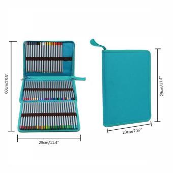 leegoal Pencil Holder Bag Pencil Zippered Wrap Colored PencilsOrganizer Case Roll Multi Foldable Purpose Pouch,72 Slot,Sky Blue -intl - 2