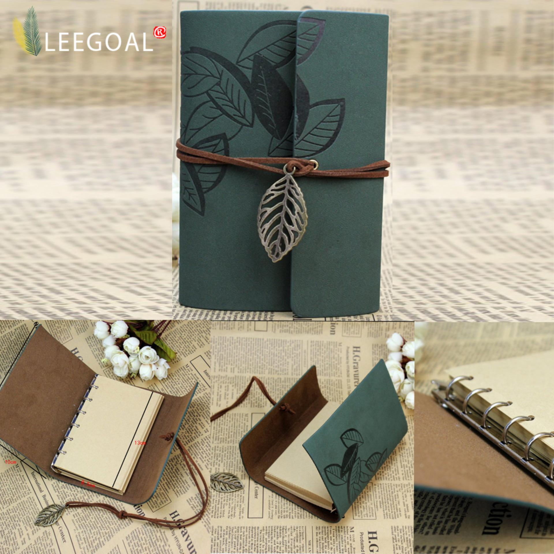 ... Leegoal PU Leather Cover Loose Leaf Blank Notebook Journal Diary (Green) - intl