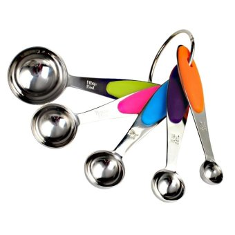 leegoal Set Of 5pcs Measuring Spoons Set,Kitchen Stainless Steel With Silicone Handles Measuring Cups Spoons - intl - 3