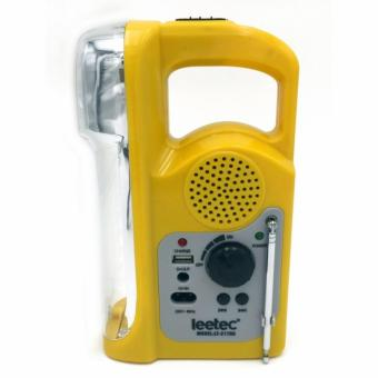 Leetec LT-217RD Rechargeable Emergency Lights with FM Scan Radio & USB Mobile Charger (Yellow)