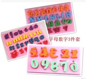 Letter-shaped Sugar Paste Silicone Mould 3 Piece