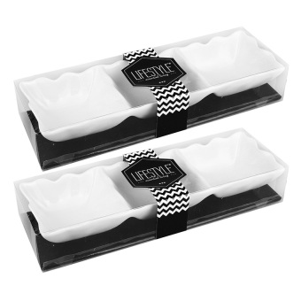 Lifestyle Wave Square Shape 3-Division Platter Set of 2 (White)