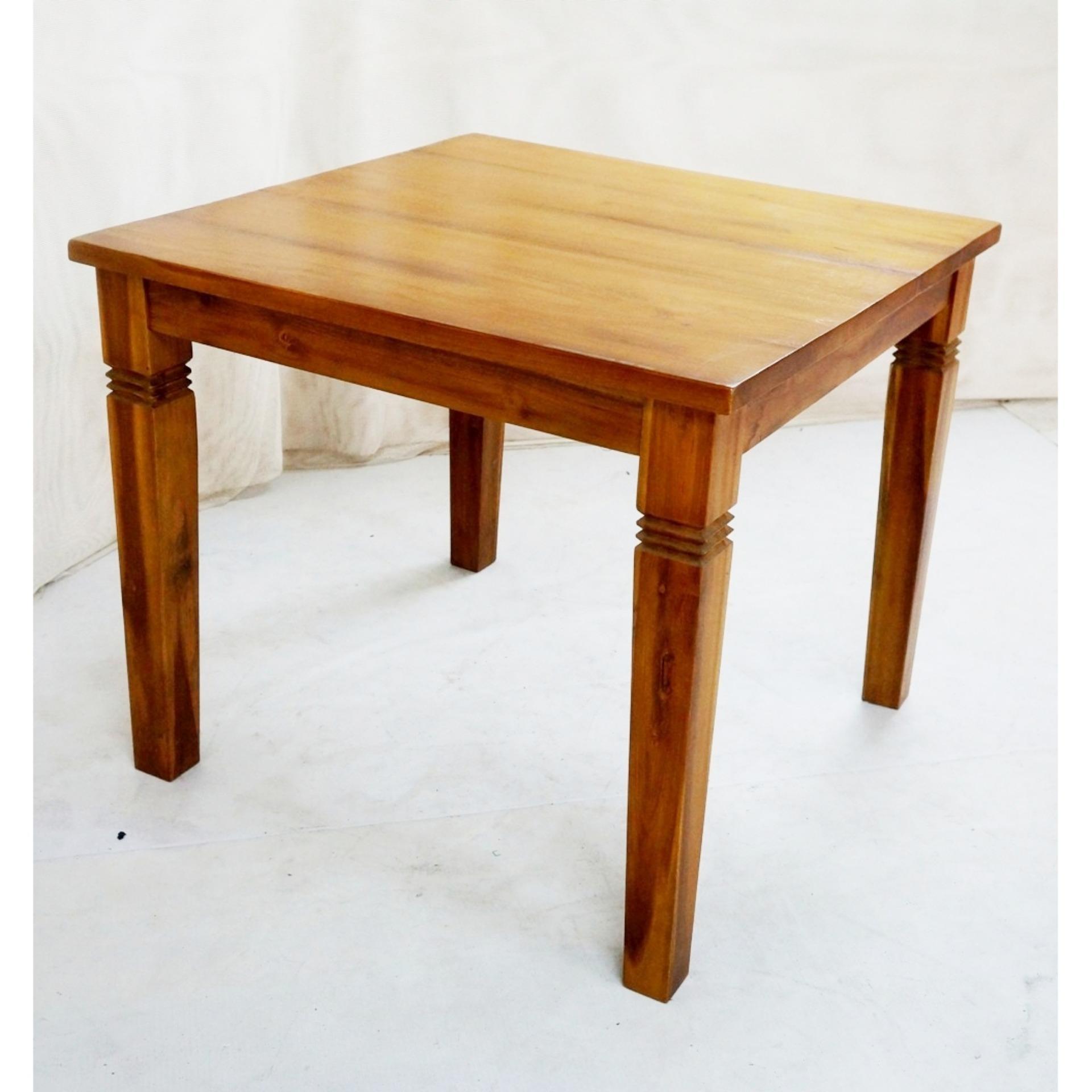 ... Linden Teak Handcrafted Solid Teak Wood Fixblock Dining Table 90x90  Furniture (Gold TeakSeries Indoor Design ...