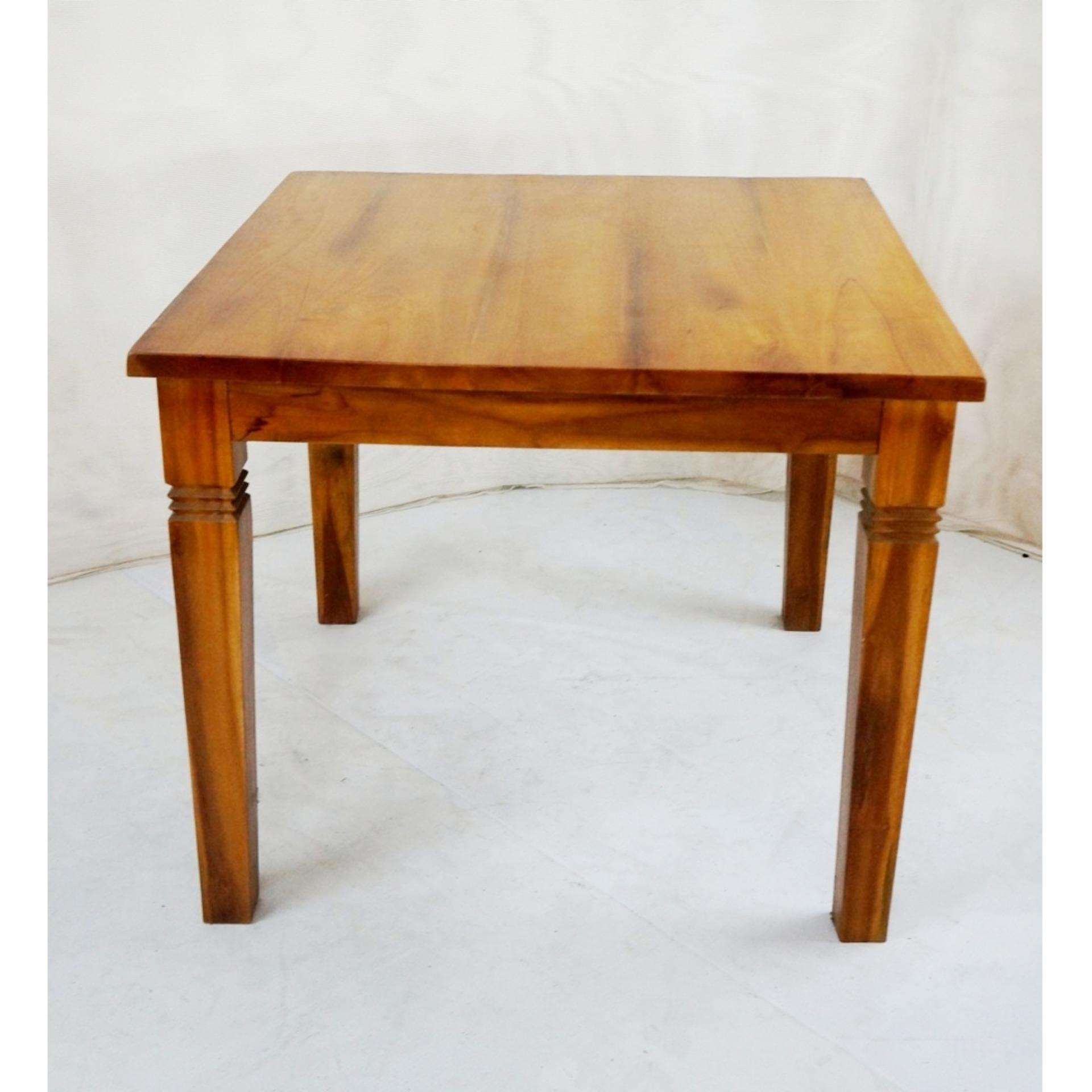 Linden Teak Handcrafted Solid Teak Wood Fixblock Dining Table 90x90  Furniture (Gold TeakSeries Indoor Design ...