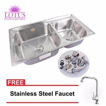 Lotus High Quality Durable Stainless Steel 2 Double Tubs KitchenSink Set 81x43x23 with FREE Stainless Steel