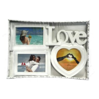 Love With Heart Design Collage (White)