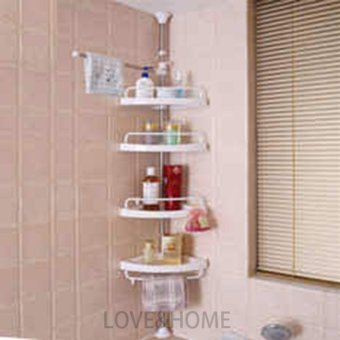 LOVE&HOME Adjustable Bathroom Corner Pole Caddy Shower Organizer (White)