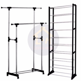LOVE&HOME DIY2s High Quality Double-Pole Clothes Rack With High Quality Amazing Shoe Rack (Black)