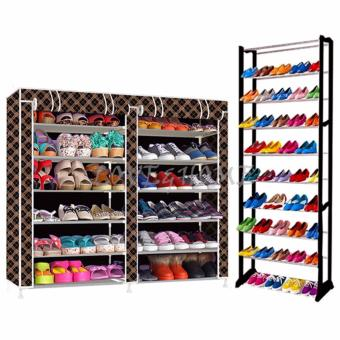 LOVE&HOME High Quality Double Capacity 6 Layer Shoe Rack Shoe Cabinet (Black Stripe)With High Quality Amazing Shoe Rack (Black) Price Philippines