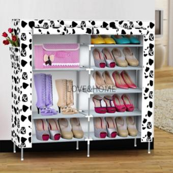 LOVE&HOME High Quality Double Capacity 6 Layer Shoe Rack Shoe Cabinet (White Dog) Price Philippines