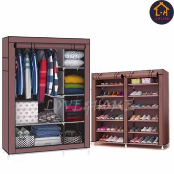 LOVE&HOME Storage Wardrobe and Clothes Organizer (Brown) With High Quality Double Capacity 6 Layer Shoe Rack Shoe Cabinet (Brown) Price Philippines