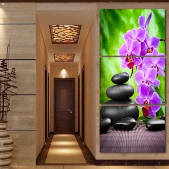Luxry 3 Panel Modern Abstract Flower Painting On Canvas Wall ArtCuadros orchid Flowers Picture Home Decor For Living Room No Fr(Noframe)