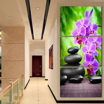 Luxry 3 Panel Modern Abstract Flower Painting On Canvas Wall ArtCuadros orchid Flowers Picture Home Decor For Living Room No Fr(Noframe) - 4
