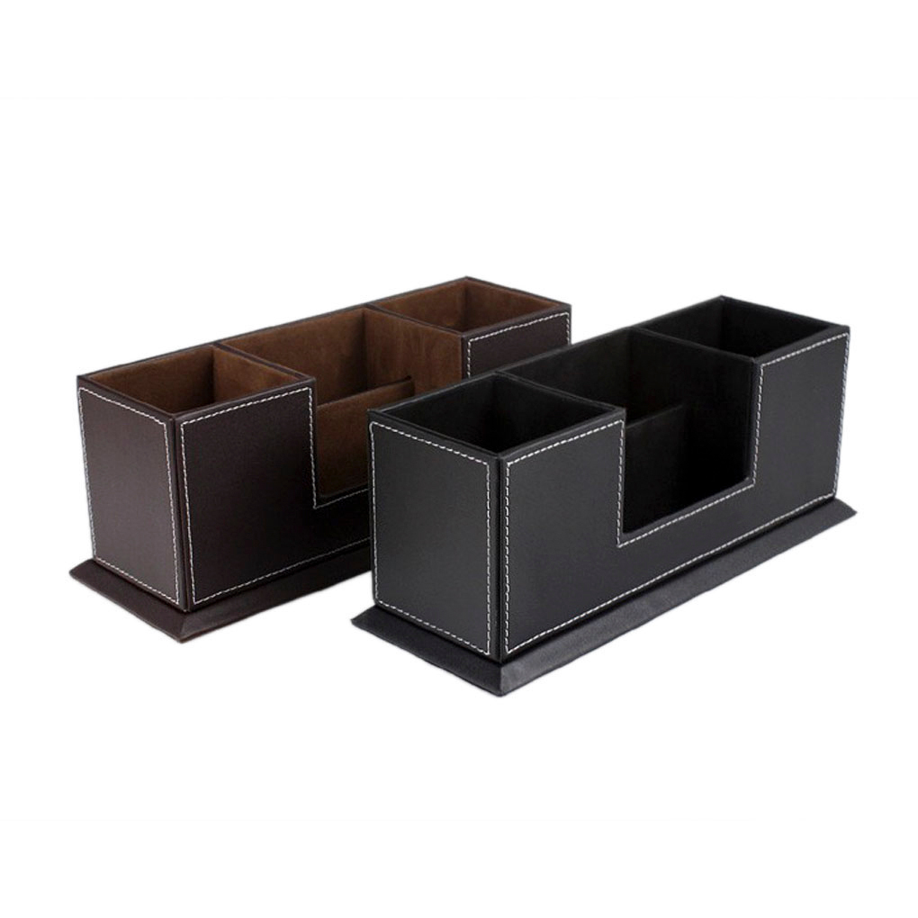 Luxury Faux Leather Desk Tidy Office Desktop Organizer 4 Dividedcompartments Pen Pencil Stationery Holder Box Name