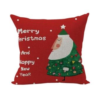 LZ Christmas Super Soft Pillowcase Cotton Linen Pillow Coverhome Deco Furniture Style 16 - intl