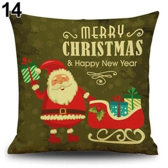 LZ Snowman Elk Tree Wreath Christmas Pillow Case Xmas Homedecor Linen Cushion Cover 14 - intl