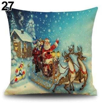 LZ Snowman Elk Tree Wreath Christmas Pillow Case Xmas Homedecor Linen Cushion Cover 27 - intl