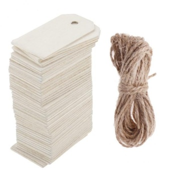 MagiDeal 100 Pieces Wooden Rectangle Shape Tag for Craft with RopeWhite and Natural - intl - 2