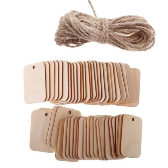 MagiDeal 100 Pieces Wooden Rectangle Shape Tag for Craft with RopeWhite and Natural - intl - 3