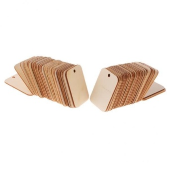 MagiDeal 100 Pieces Wooden Rectangle Shape Tag for Craft with RopeWhite and Natural - intl - 4