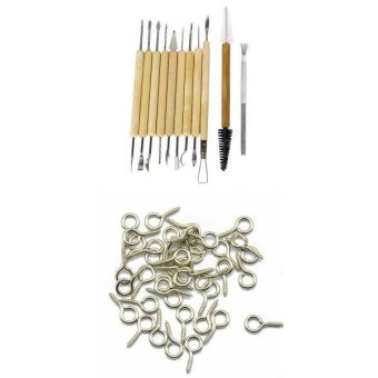 MagiDeal 50 Pieces Screw Eye Pin Jewelry Findings +11 Pieces ClaySculpture Tool Set - intl - 5