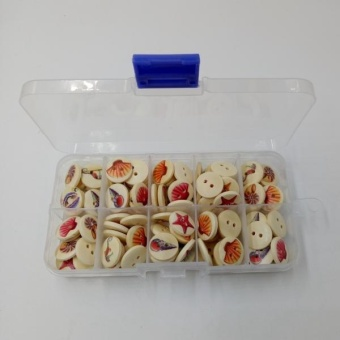 MagiDeal A Box of 100 Pieces Assorted Round Sea Shell Wooden Buttons for Sewing Craft - intl - 4