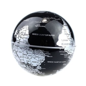 Maglev Floating Rotating Globe Novelty C Shape Color HomeDecoration With Magnetic Suspension Levitation Floating Globe WorldMap LED Light Home Decor Globes Black - 5