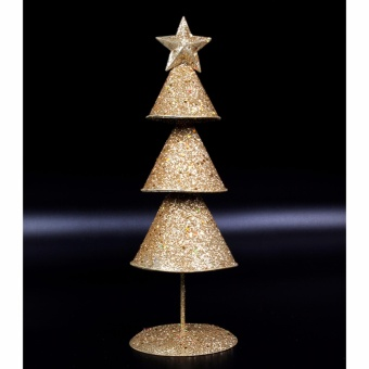 Merry & Bright Cone Christmas Table Stand Décor (Gold)