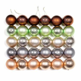 Merry & Bright Shatterproof Christmas Decoration Balls Assorted Set of 30 (Matte Glaze/ Glossy)