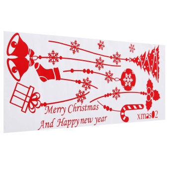 Merry Christmas Cleigh Tree Stocking Bells Wall Stickers White